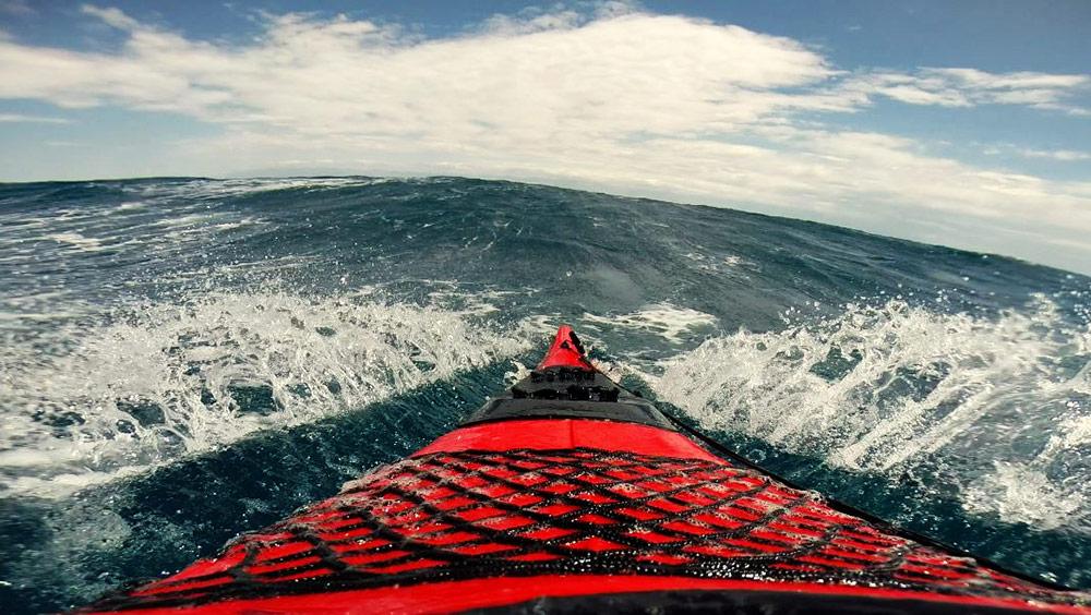 sea kayaking in storm in croatia