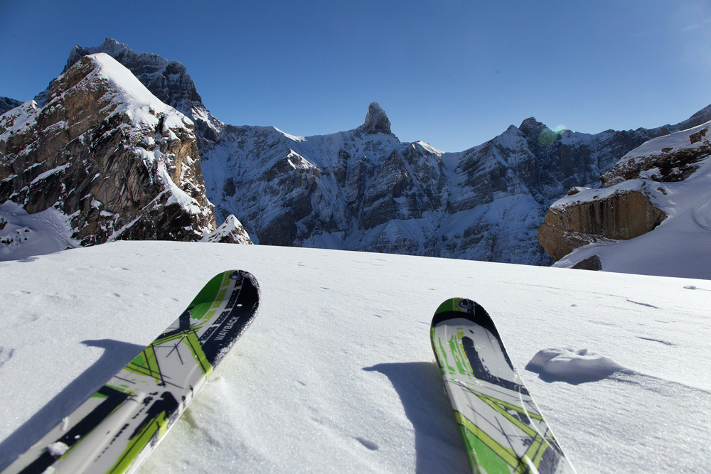view from the skitouring adventure in the alps