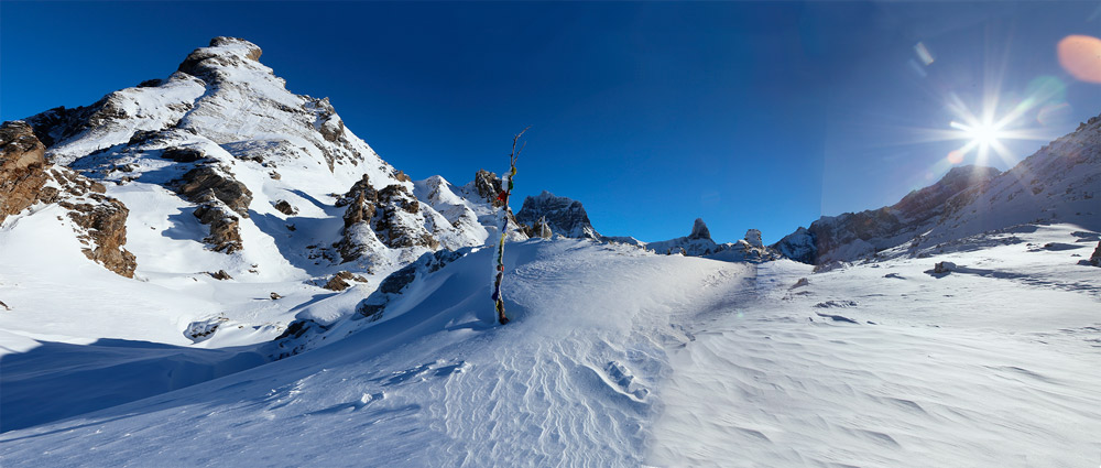 view from ski touring adventure